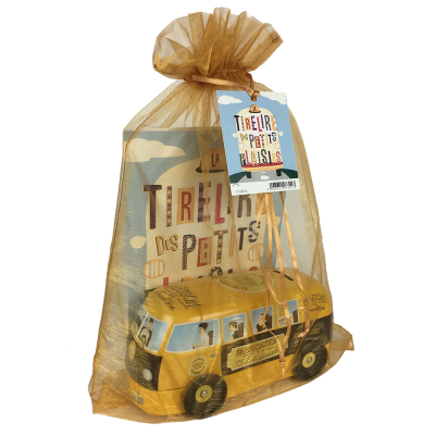Set-cadeau tirelire bus tradition « jaune » + carte médium