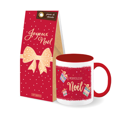 Set-cadeau Noël tasse + grains de chocolat (2 articles)