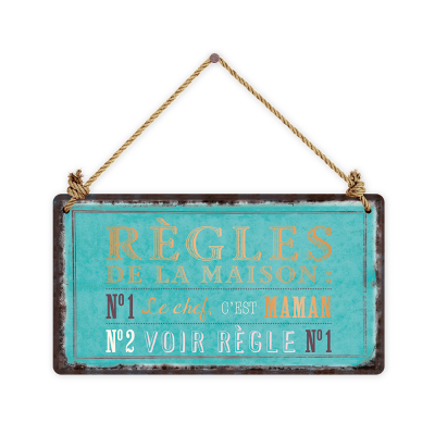 Pancarte rectangulaire VintageArt « Règles de la maison... » effet metallic