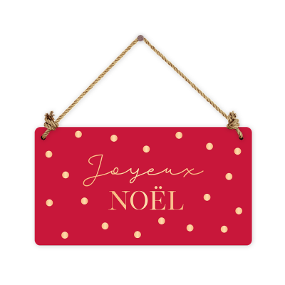 Pancarte rectangulaire VintageArt « Joyeux Noël » effet metallic
