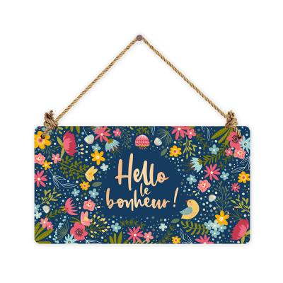 Pancarte rectangulaire VintageArt « Hello le bonheur ! » effet metallic