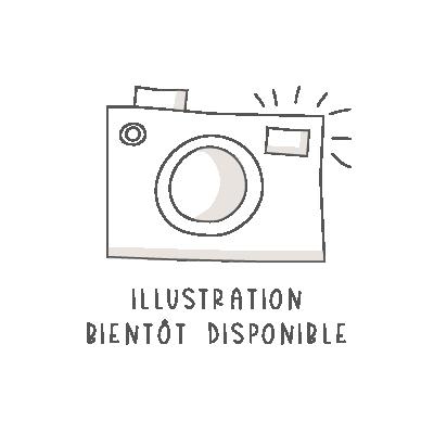 Badge magnétique 38mm « coeur fuchsia fond rose clair »