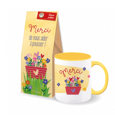 Set-cadeau fin d'année scolaire tasse + coeurs gélifiés (2 articles) « Merci fleurs »