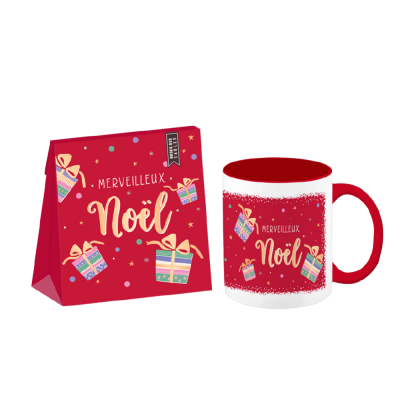 Set-cadeau Noël tasse + roses des sables + carte médium (3 articles) Merveilleux Noël
