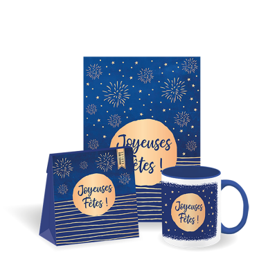 Set-cadeau Noël tasse + roses des sables + carte médium (3 articles)